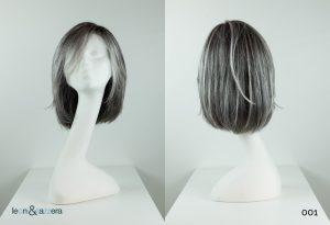 Parrucca naturale con capelli veri media lunghezza lisci grigi