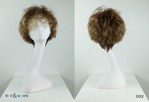 Parrucca naturale con capelli veri corti castano chiaro ricci