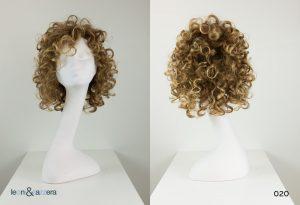 Parrucca naturale con capelli veri media lunghezza ricci castano-biondo
