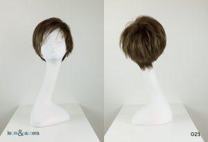Parrucca naturale con capelli veri corti lisci biondo-castano