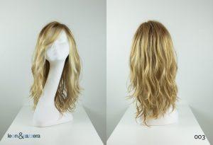 Parrucca naturale con capelli veri lunghi biondi mossi