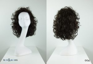 Parrucca naturale con capelli veri media lunghezza neri ricci