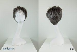 Parrucca naturale con capelli veri corti mossi grigi