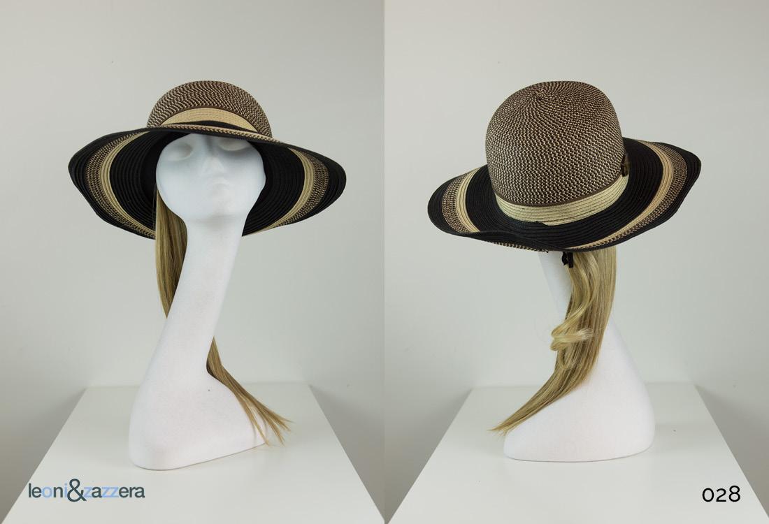 Cappello estivo per chemioterapia paglia nero e marrone