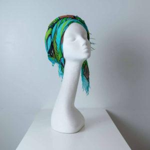 Copricapo turbante fantasia verde azzurro_fronte_leoni-Zazzera