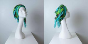 Copricapo turbante fantasia verde azzurro_leoni-Zazzera