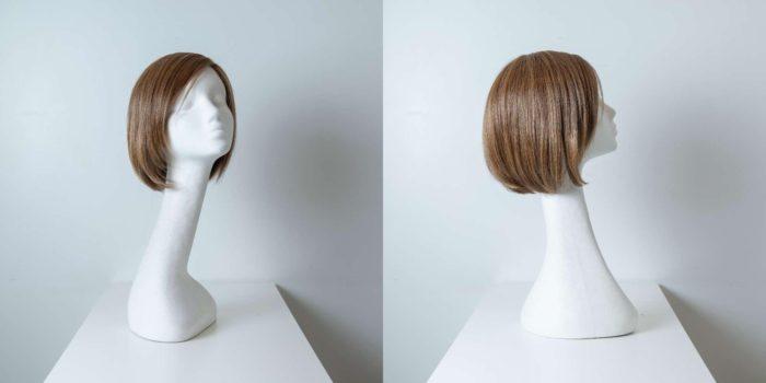 Parrucca capelli misti corti castani lisci donna_Leoni-Zazzera