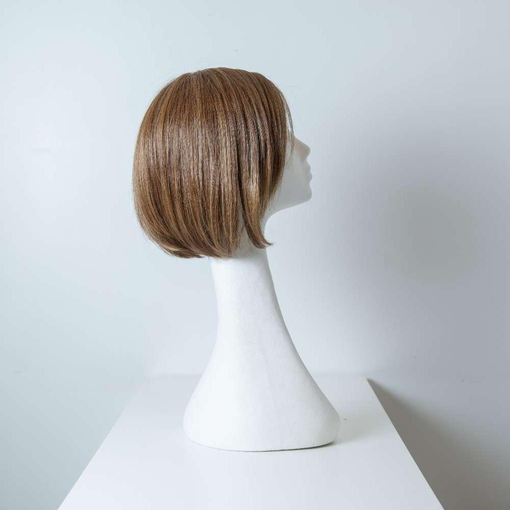 Parrucca capelli misti corti castani lisci donna_retro_Leoni-Zazzera