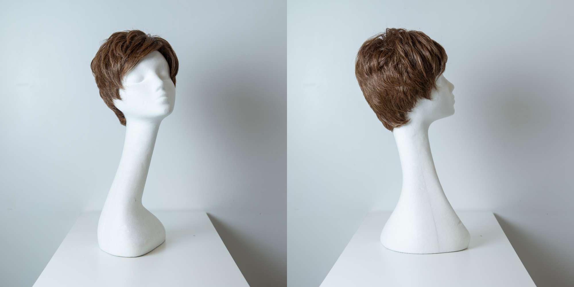 Parrucca capelli misti corti castani mossi donna_Leoni-Zazzera