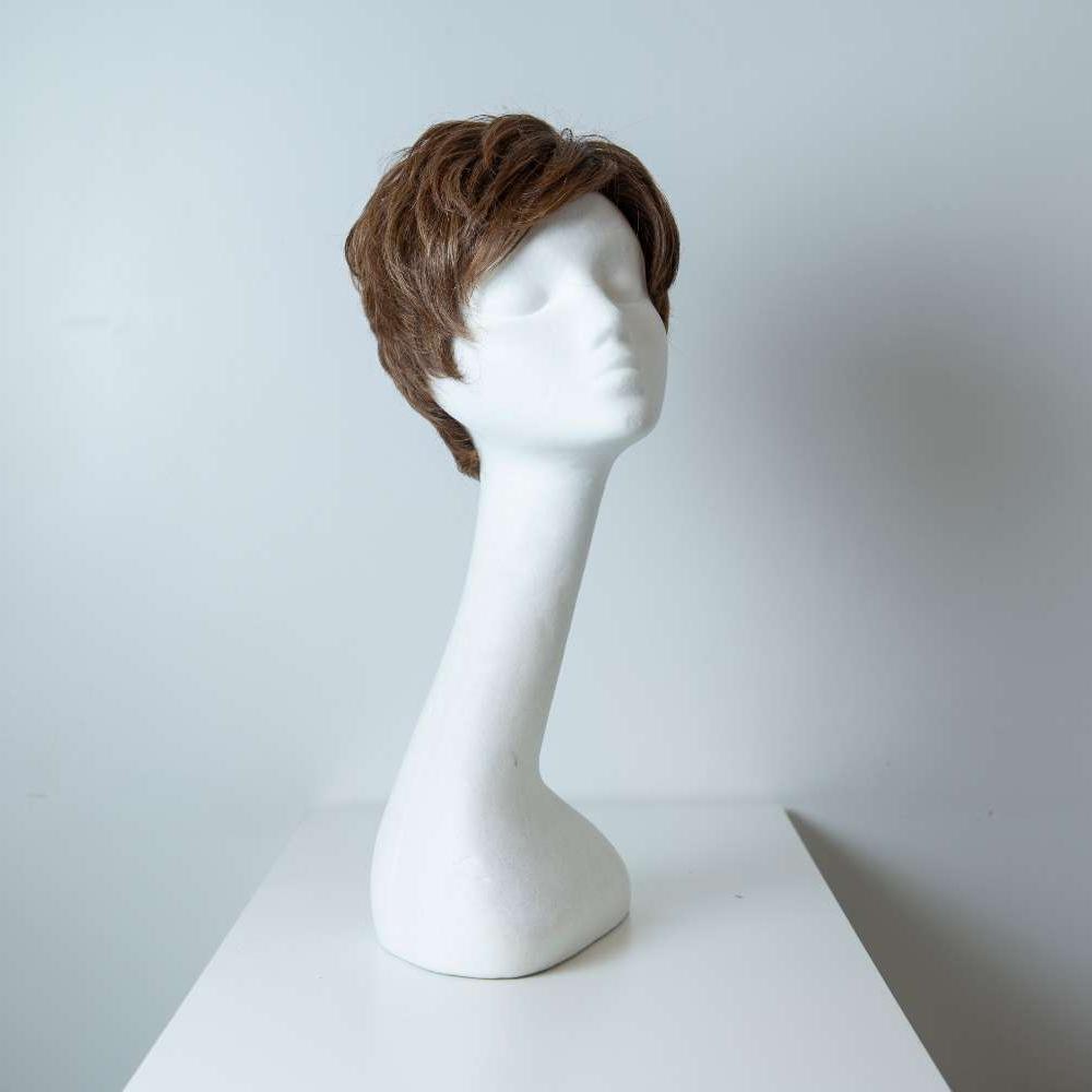 Parrucca capelli misti corti castani mossi donna_fronte_Leoni-Zazzera