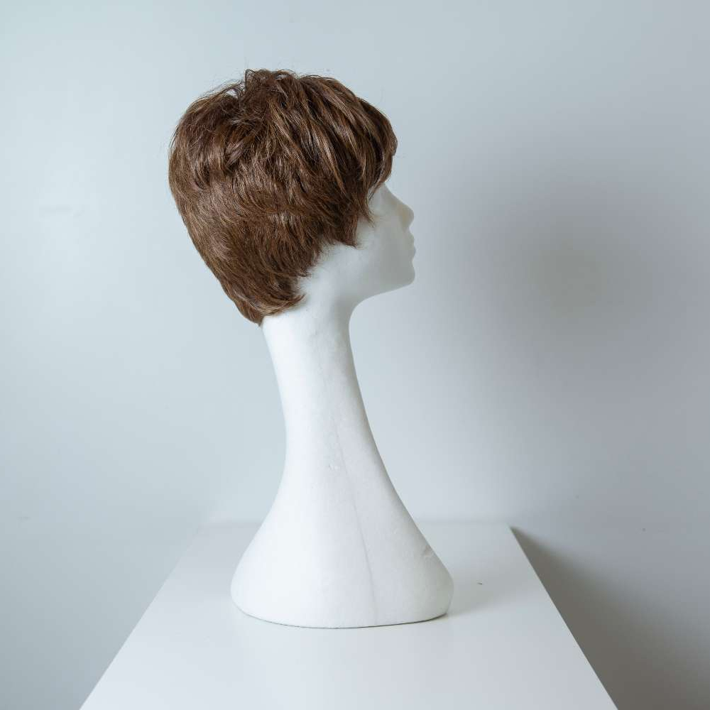 Parrucca capelli misti corti castani mossi donna_retro_Leoni-Zazzera