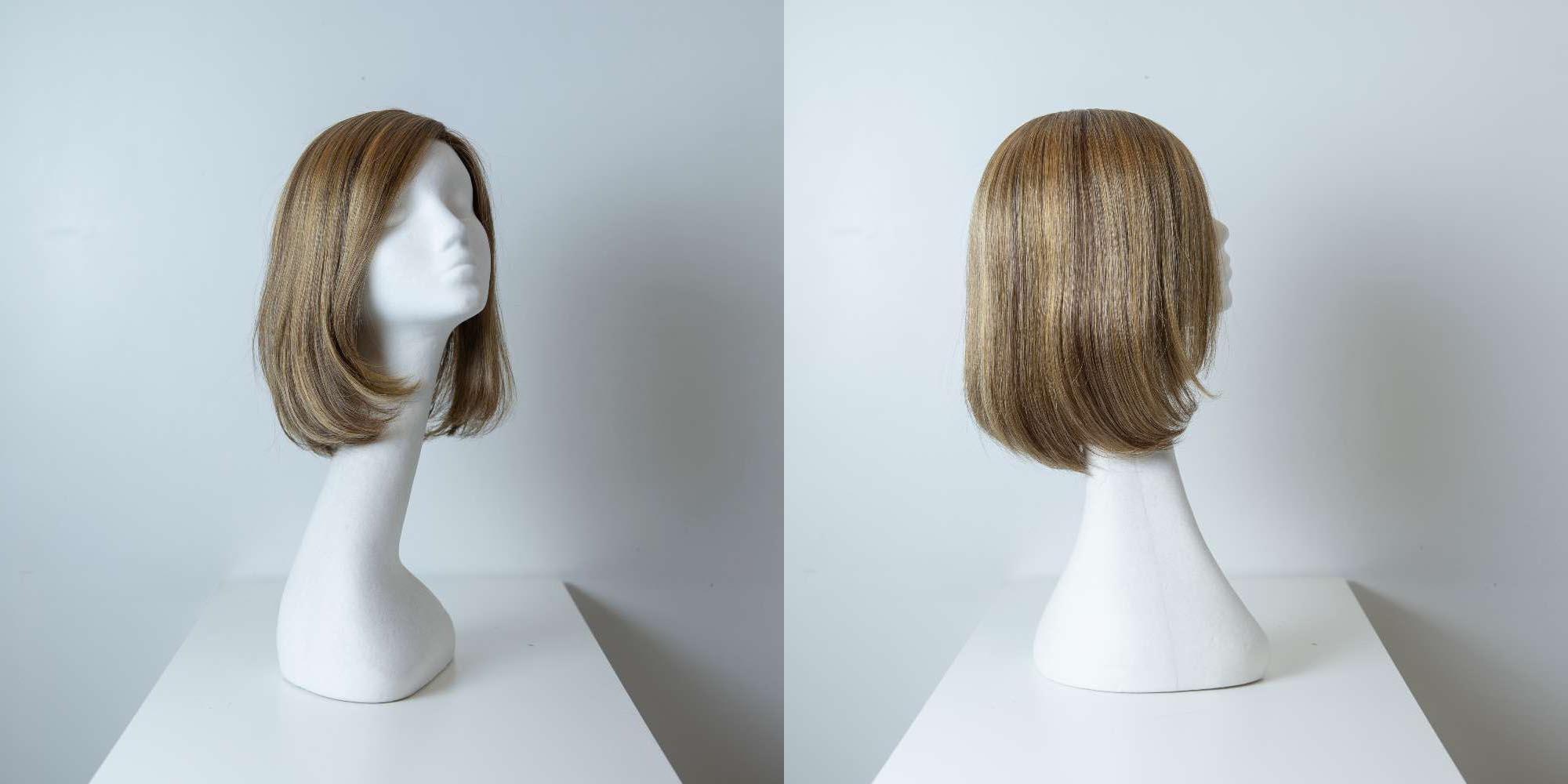 Parrucca capelli misti media lunghezza castano chiaro lisci donna_Leoni-Zazzera