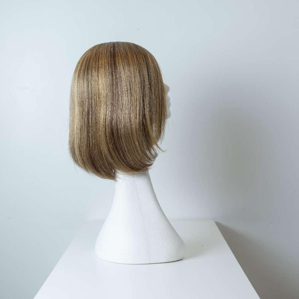 Parrucca capelli misti media lunghezza castano chiaro lisci donna_retro_Leoni-Zazzera