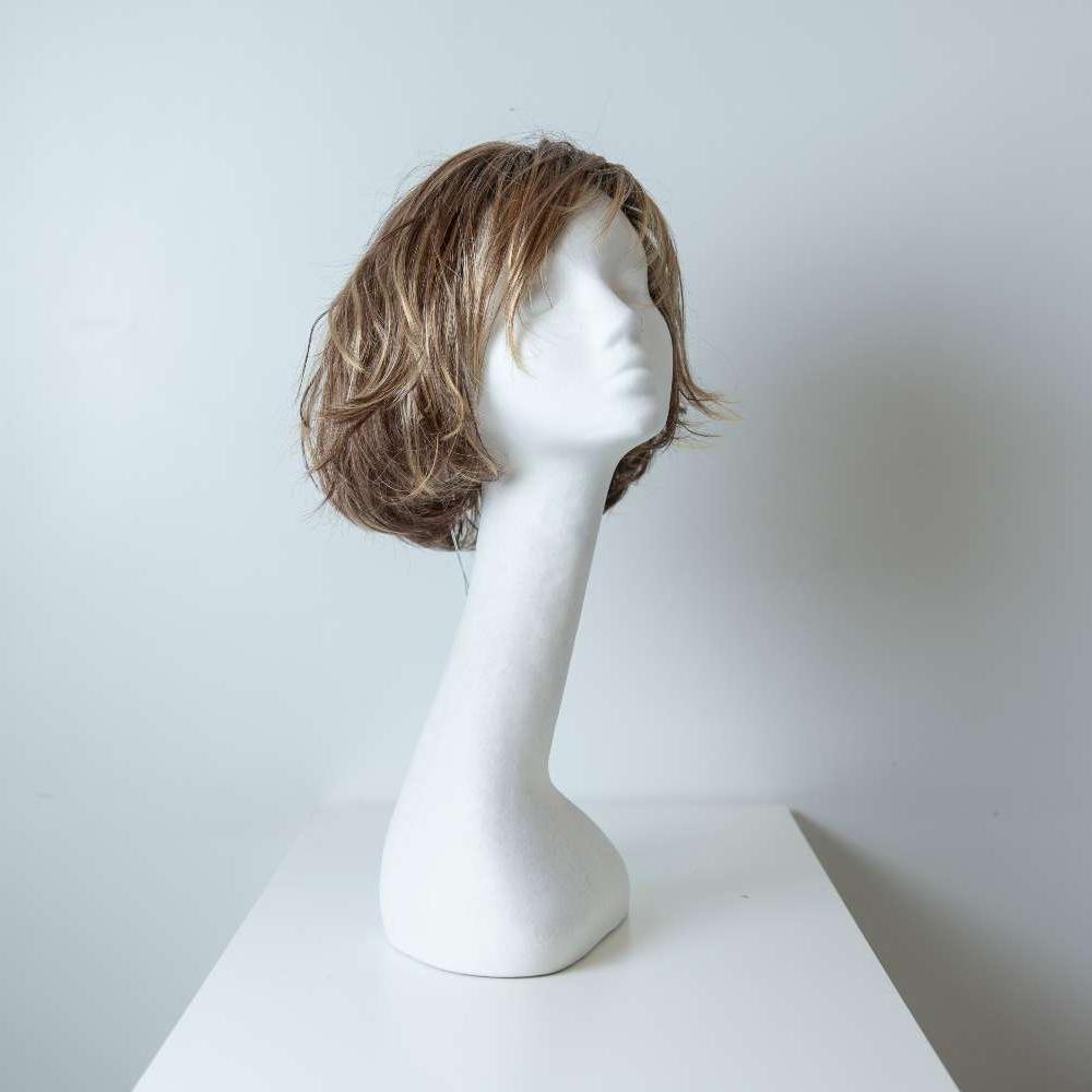 Parrucca capelli sintetici corti biondi_fronte_Leoni-Zazzera