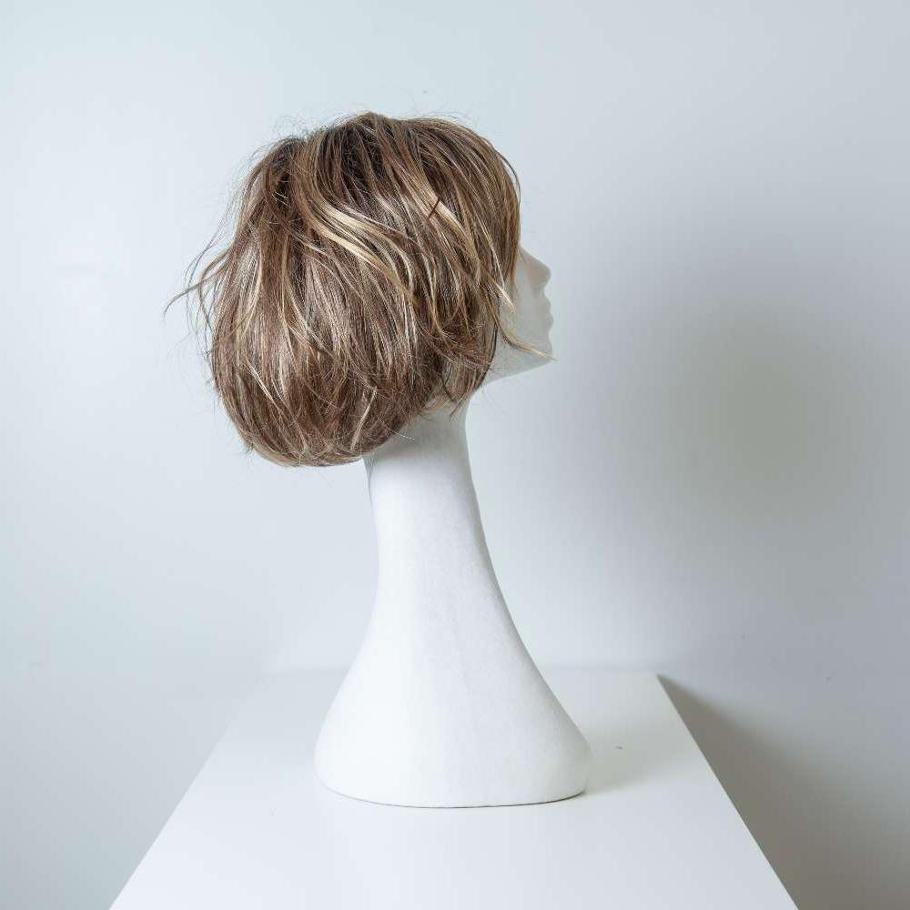 Parrucca capelli sintetici corti biondi_retro_Leoni-Zazzera