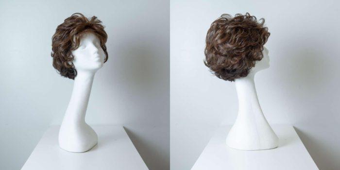 Parrucca capelli sintetici corti castani mossi_Leoni -Zazzera