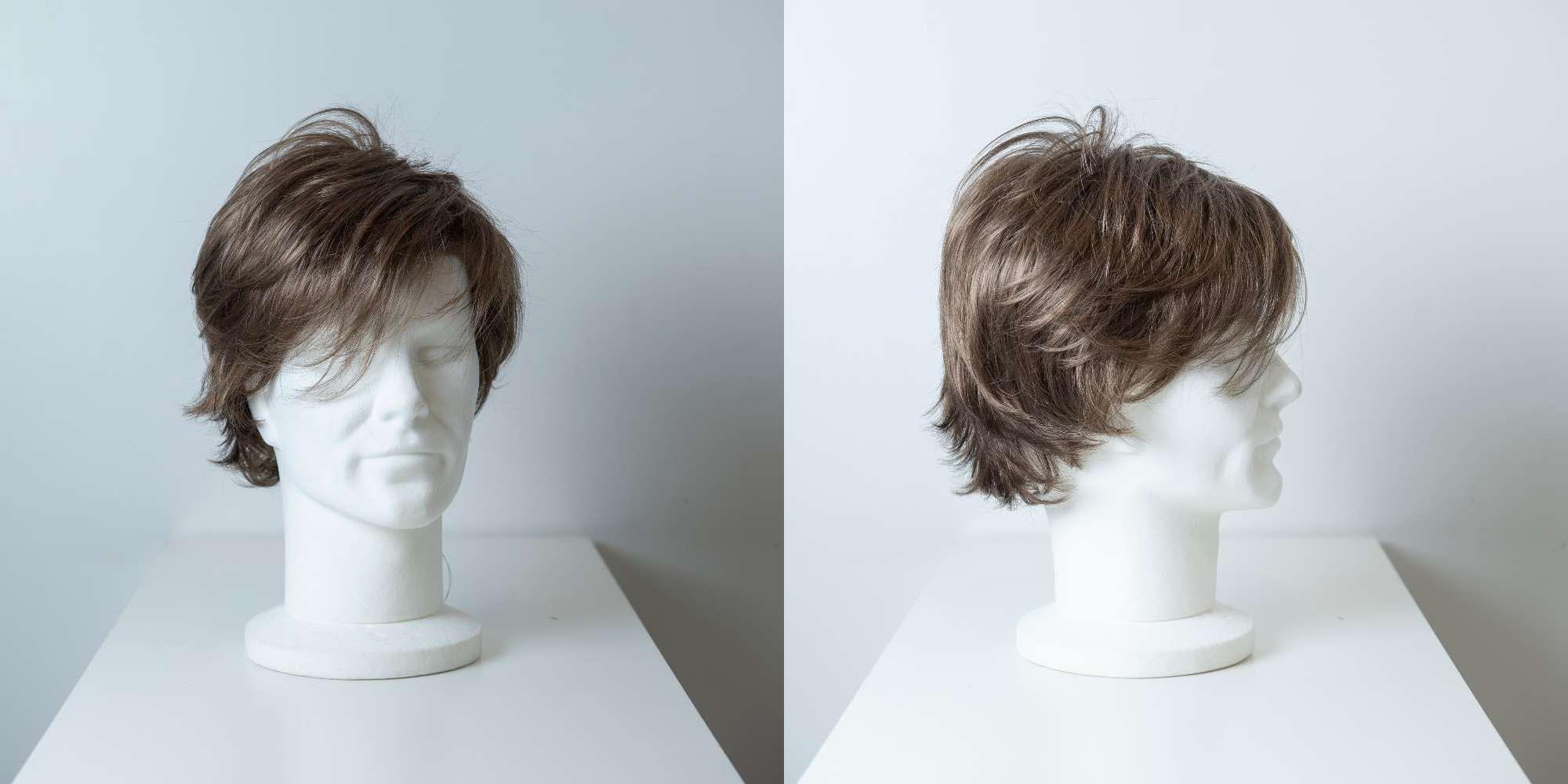 Parrucca capelli sintetici corti castano chiaro uomo_Leoni-Zazzera
