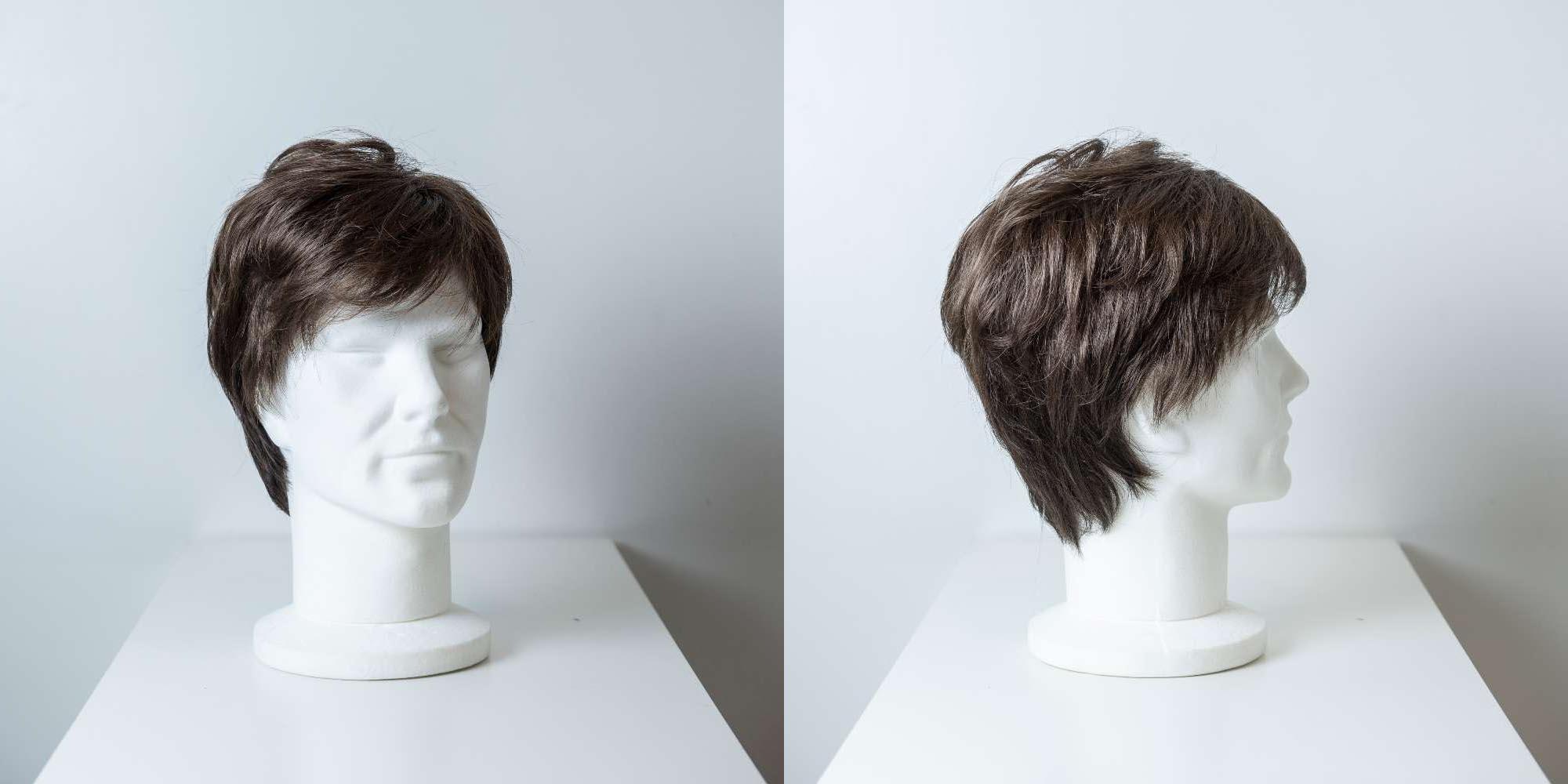 Parrucca capelli sintetici corti castano scuro uomo_Leoni-Zazzera