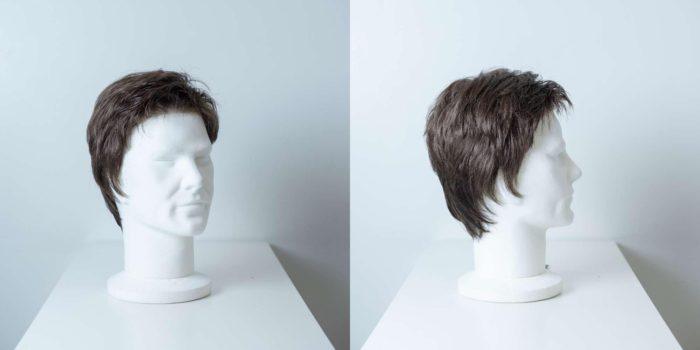 Parrucca capelli sintetici corti castano uomo_Leoni-Zazzera