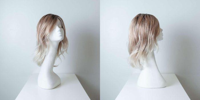 Parrucca capelli sintetici lunghi colorati castano-bianco donna_Leoni-Zazzera