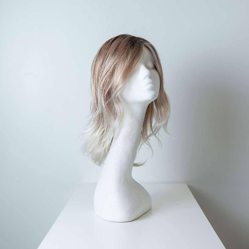 Parrucca capelli sintetici lunghi colorati castano-bianco donna_fronte_Leoni-Zazzera