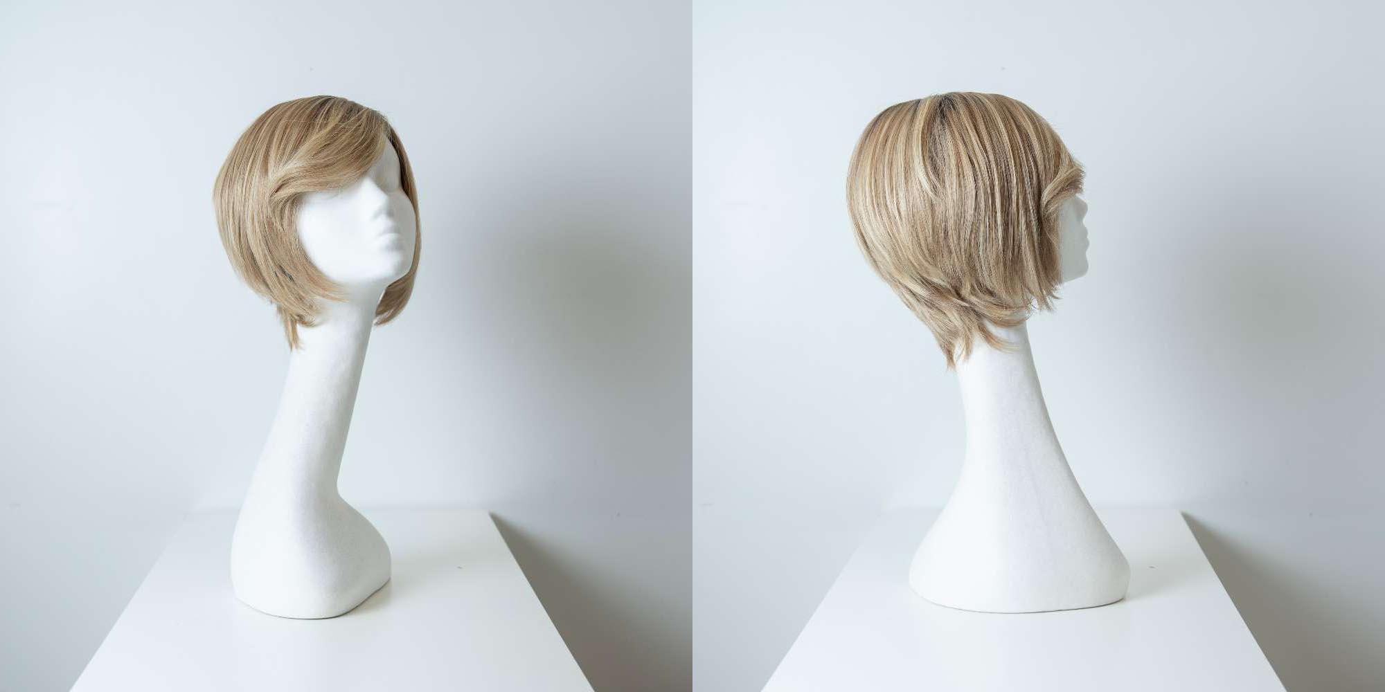 Parrucca capelli veri corti biondi lisci donna_Leoni-Zazzera