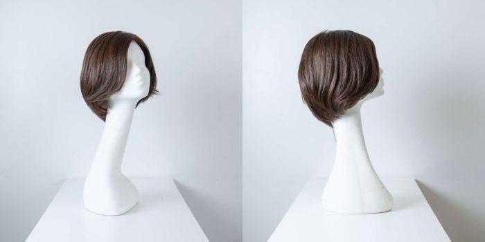 Parrucca capelli veri corti castano scuro lisci donna_Leoni-Zazzera