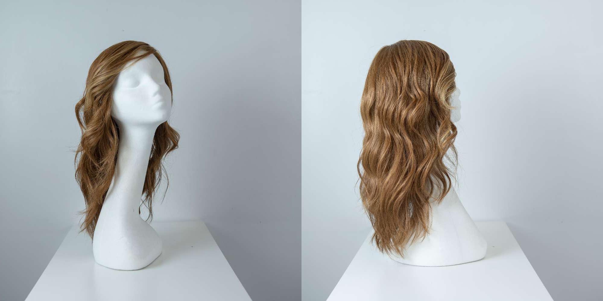 Parrucca capelli veri lunghi castani mossi donna_Leoni-Zazzera