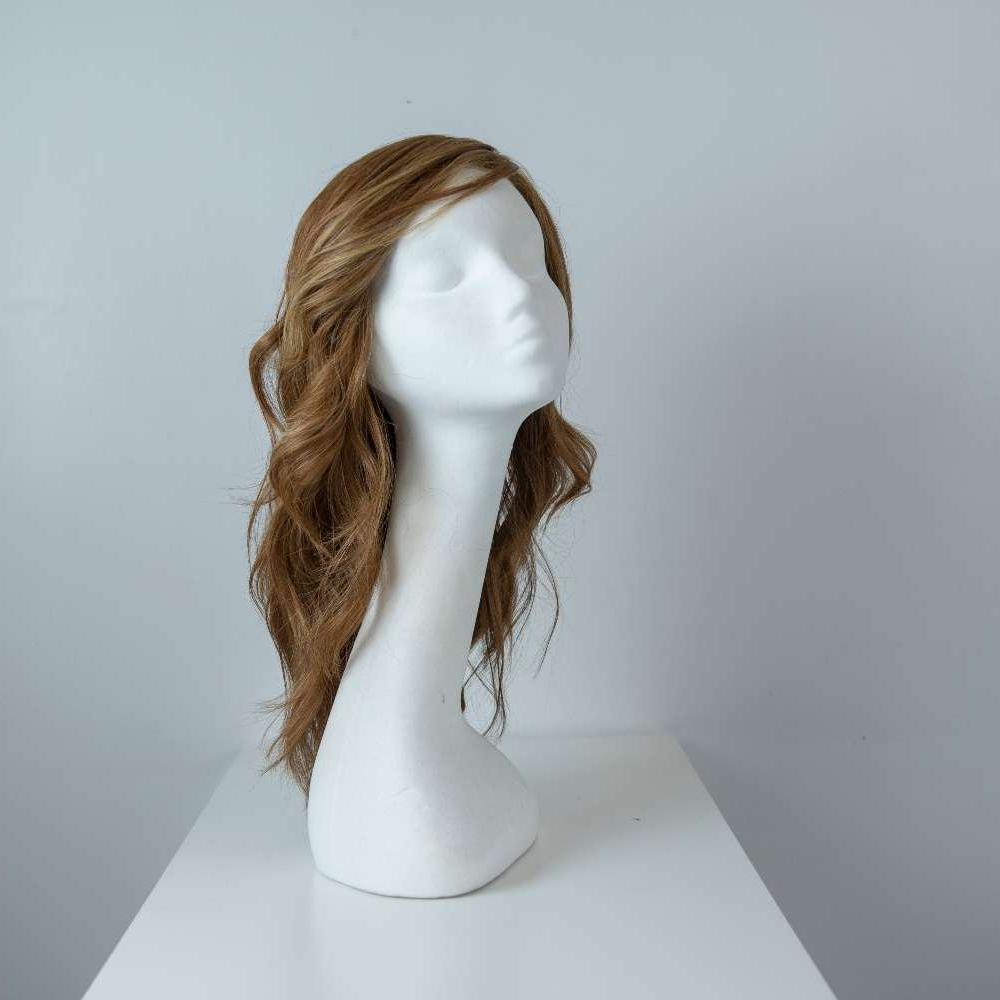 Parrucca capelli veri lunghi castani mossi donna_fronte_Leoni-Zazzera