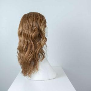 Parrucca capelli veri lunghi castani mossi donna_retro_Leoni-Zazzera