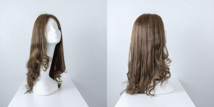 Parrucca capelli veri lunghi castano cenere mossi donna_Leoni-Zazzera