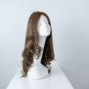Parrucca capelli veri lunghi castano cenere mossi donna_fronte_Leoni-Zazzera