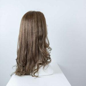Parrucca capelli veri lunghi castano cenere mossi donna_retro_Leoni-Zazzera